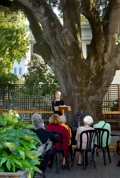 Katherine Hastings, Poet Laureate of Sonoma County 2014-2016 and curator of the WordTemple Poetry Series and WordTemple on NPR affiliate KRCB FM, reading at the Petaluma Historical Museum during the 2014 Petaluma Poetry Walk. (JOHN O'HARA/FOR THE ARGUS-COURIER)