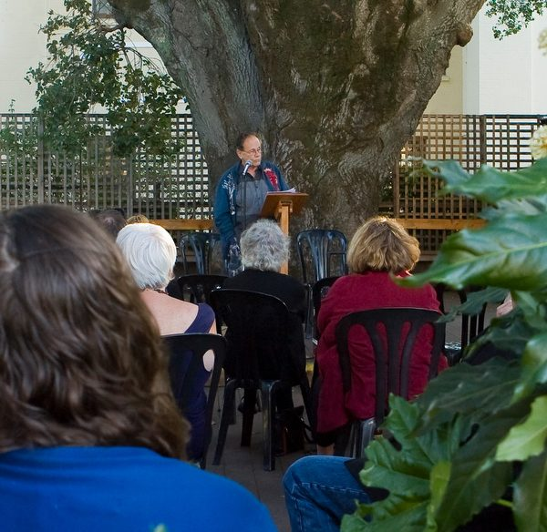 Poet Ron Salisbury reading at the Petaluma Historical Museum during the 2014 Petaluma Poetry Walk. (JOHN O'HARA/FOR THE ARGUS-COURIER)